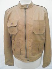 DKNY Jeans Ladies Leather Tan Brown Jacket Coat New Large UK 12 14 £400