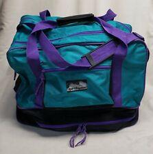 Boot Bag and Ski Bag Teal Purple Duffel Overnight Sport Graphics Vintage 1990