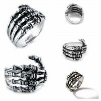 Men Hand Bone Vintage Biker Punk Skull Rings Gothic Rings