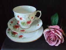Vintage Colclough Bone China Carmina Red Poppy Design Trio Tea Cup Saucer Plate