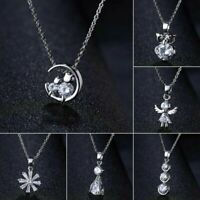 Noble Silver Crystal Zircon Necklace Pendant Choker Chain Women Jewelry Gift Hot