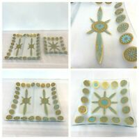 2 Vintage MCM Serving Tray Square Divided Glass Turquoise Gold Medallion DH6