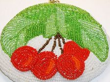 Vintage Delill Cherry Cherries Fruit Seed Bead Coin Charge PURSE Hand Made Japan