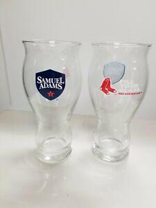 Samuel Adams Boston RED SOX Baseball glasses NEW Set of 2  FILL YOUR GLASS