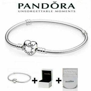 New Genuine Silver Pandora Moments Heart Clasp Charm Bracelet  16cm- 23cm