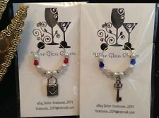 Wine Glass Charms - Set 2 - Padlock and Key - (Wedding, Engagement)