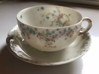 Antique Theo Haviland Limoges Schleiger 27 Floral Pink Roses Cup & Cream Bowl