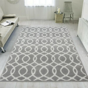 Silver Grey Trellis Rug Small Large Living Room Rugs Geometric Mats CLEARANCE