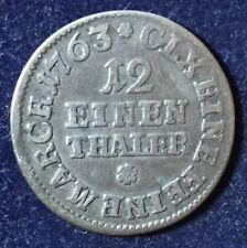 Germany Sachsen-Albertine 1/12Thaler 1763 JFoF Johann Friedrich o Feral KM#954