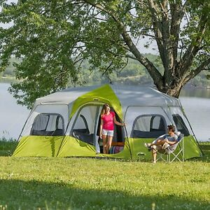 Core Equipment 12 Person Instant Cabin Tent Green/white , 18 x 10 ft,