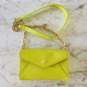 TORY BURCH Solid Neon Yellow Leather Envelope Mini Crossbody Bag