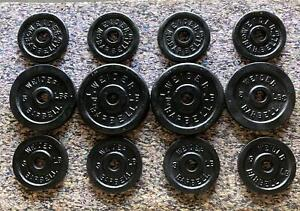 Lot of Vintage Standard Weider Weight Plates 2x7.5 2x5 8x3 49 lbs Total