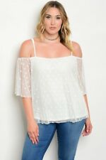 WOMEN'S PLUS SIZE SEXY IVORY WHITE MESH LACE OFF SHOULDER TOP 3XL NWT