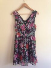 Rage Dress V Neck Chiffon Black With Floral Print Size 10 <K1031