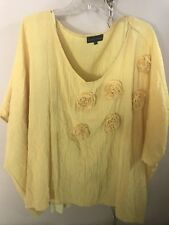 Jean Marc Philippe Top/Blouse Plus Size One Size Fits All Yellow Color