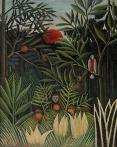 Monkeys and Parrot in the Forrest by Henri Rousseau 60cm x 48cm Art Paper Print