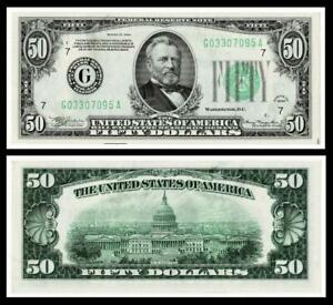 1934 $50 DOLLAR BILL  FEDERAL RESERVE NOTE ~~ ~ UNCIRCULATED