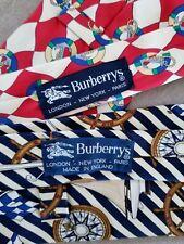 2 Authentic Burberry Silk Ties Nautical Theme