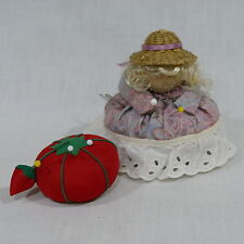 Vintage Tomato Strawberry & Doll Needle Holder Pin Cushions ~ Sewing Notion