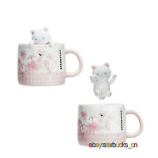 Starbucks Cup Pink Sakura Cherry Blossom 12oz Cute kitty Tea Strainer Mug