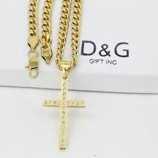 "Dg 20"" Men's Stainless Steel.Gold Cuban Curb Chain Necklace,Cross,Cz Pendant+Box"