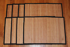 "Lot 8 Natural Color Bamboo Wicker Place Mats SET Hemmed Edge 12x18"" Fall Summer"