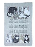 Vintage Rare Kay Dee 1997 The Felines Calendar Dish Tea Towel Size 25 X 16 Inch