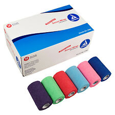 "Full CASE 18 ROLLS 4"" VETRAP Assorted VETWRAP BANDAGES RainBow Colors"