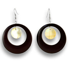 Ohrringe Design Holz Muschel Earrings Schmuck ER145