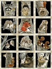 Hoo's Tree Owl Panel - 28 Panels Cotton Quilting Fabric - 60cm x 110cm