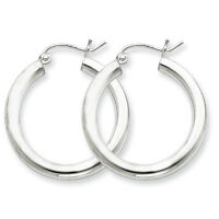925 Sterling Silver Rhodium Plated 3mm x 25mm Round Polished Hoop Earrings