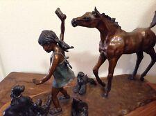 "Horse, Dogs and Girl Bronze Sculpture ""Sugar Sandwich""  Leyendecker Signed USA"