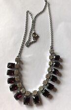 Purple Stones Necklace 1930s Vintage Diamante And