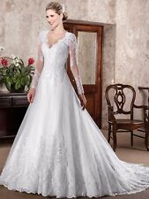 White Tulle A-line Train Prom Bridesmaid Pageant Wedding Evening Formal Dresses