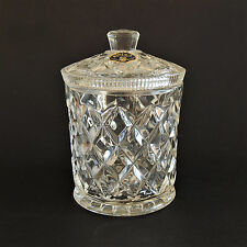 VINTAGE BOHEMIA (CZECHOSLOVAKIA) LABELED CRYSTAL GLASS LIDDED BISCUIT BARREL