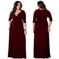 New Women Burgundy Long Maxi Formal Summer V Evening Party dress Plus Size 28-30