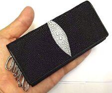 Genuine Stingray Wallets Skin Leather Keyrings Keychain Men's Black Purses Long