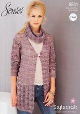 Stylecraft 8831 Ladies Lace Cardigans & Snood Scarf Knitting Pattern Senses