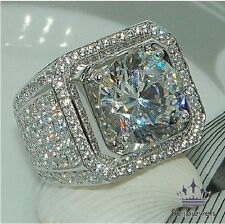 10K WHITE GOLD 2.20 CARAT MENS CLEAR DIAMOND ENGAGEMENT WEDDING PINKY RING BAND