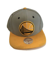 Golden State Warriors NBA Basketball Gray Yellow Mitchell & Ness Retro Hat Cap