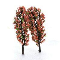 3,3 Zoll Gruen Zug Set Scenery Landschaftsmodell Baum mit Pfirsich Blumen M S4W1