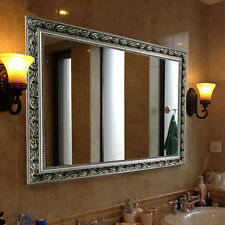 "Rectangular Wall Mounted Mirror, Double-way Hanging, 32""x24"", Baroque Silver"
