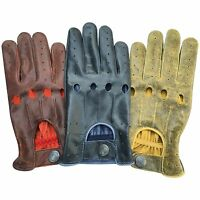 Prime Men's Retro Style Soft Real Leather Crunch Driving Gloves Unlined 507