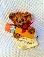 Very Best Teacher Bear Pencil, Hand Crafted Ornament Santa World Kurt Adler Gift