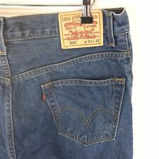 Levis 505 Blue Regular Straight Denim Jeans Sz W34 L32 Tagged (W34 L31 Measured)