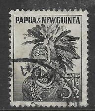 PAPUA NEW GUINEA 1958 3½d PAPUAN HEADDRESS 1v USED (No 1)