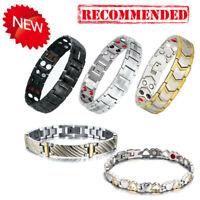 1X Hottime Titanium Steel Magnetic Far Therapy Negative Ion Bracelet Pain Relief