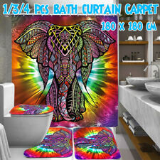 Colourful Elephant Bathroom Shower Curtain Toilet Lid Cover Mat Non-Slip    °