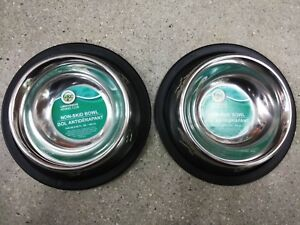 2 X Non Slip Stainless Steel Water And Food Bowls For Dogs Cats Puppy Small Pet