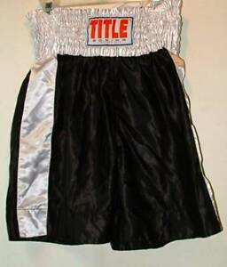 Title  Boxing MMA  cinched waist shorts satin black  large